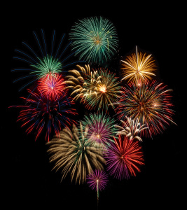Festive and colorful fireworks display